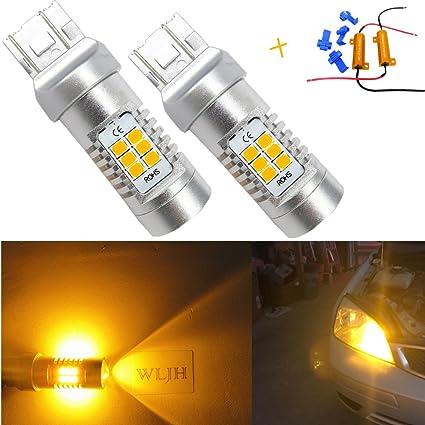 WLJH 2 x 7443 7444 992 LED bombilla 21SMD 2835 de ámbar 10 V 30 V