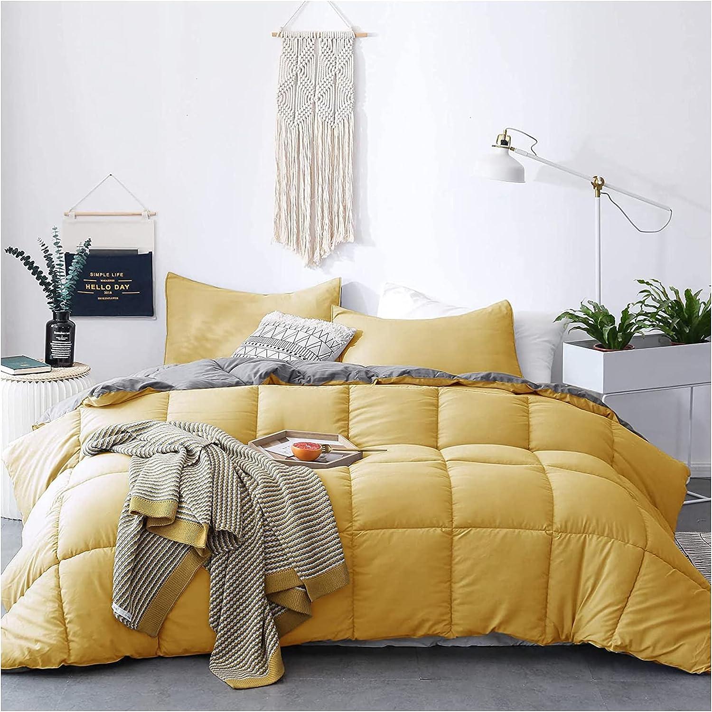 KASENTEX All Season Down Alternative Quilted Comforter Set Reversible Ultra Soft Duvet Insert Machine Washable (Yellow/Grey, King Set)