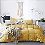 KASENTEX All Season Down Alternative Quilted Comforter Set Reversible Ultra Soft Duvet Insert Machine Washable (Yellow/Grey,