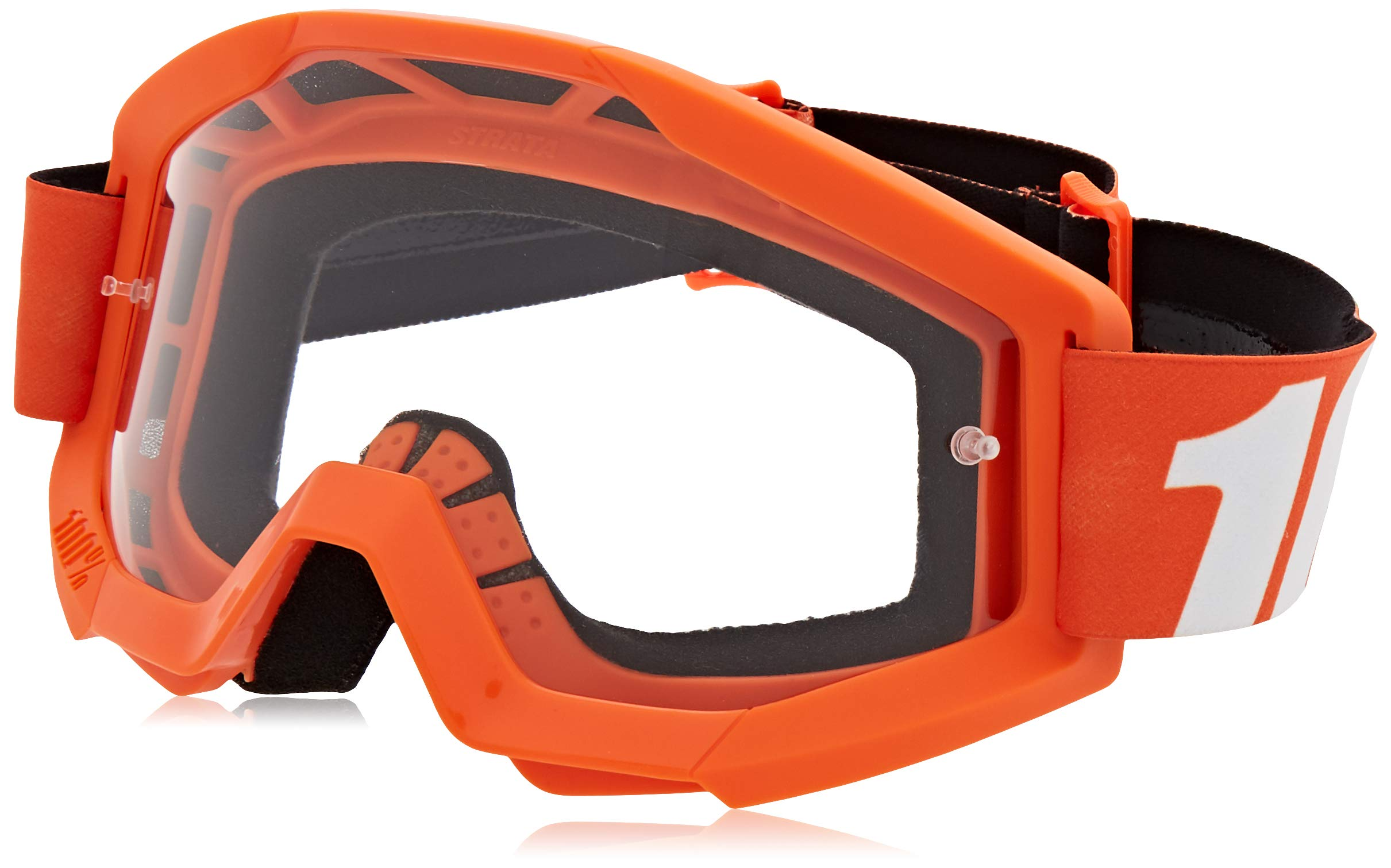 100% STRATA Goggles Orange - Clear Lens, One Size by 100%