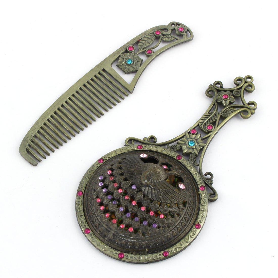 Amazon.com: eDealMax Metal de las señoras del pavo Real de la Flor de la decoración de Mano del Espejo cosmético del peine 2 en 1: Health & Personal Care