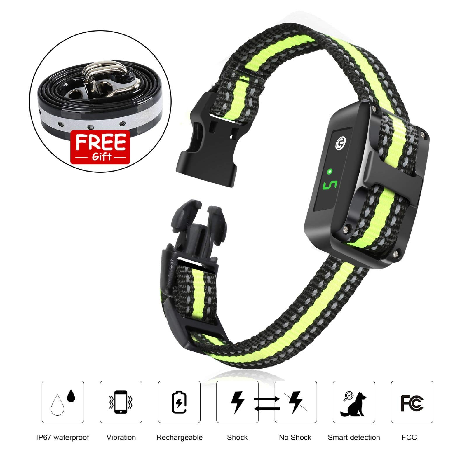 AOWIN Dog Bark Collar, 5 Adjustable Sensitivity and Intensity Levels Dual Anti Barking Modes Rechargeable Rainproof Reflective No Barking Control Dog Shock Collar for Small Medium Large Dog