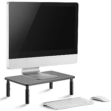 Soporte monitor pc de primera calidad - Soporte pantalla ordenador estable, diseño que ahorra espacio y ajuste de altura aseguran la altura ideal del ...