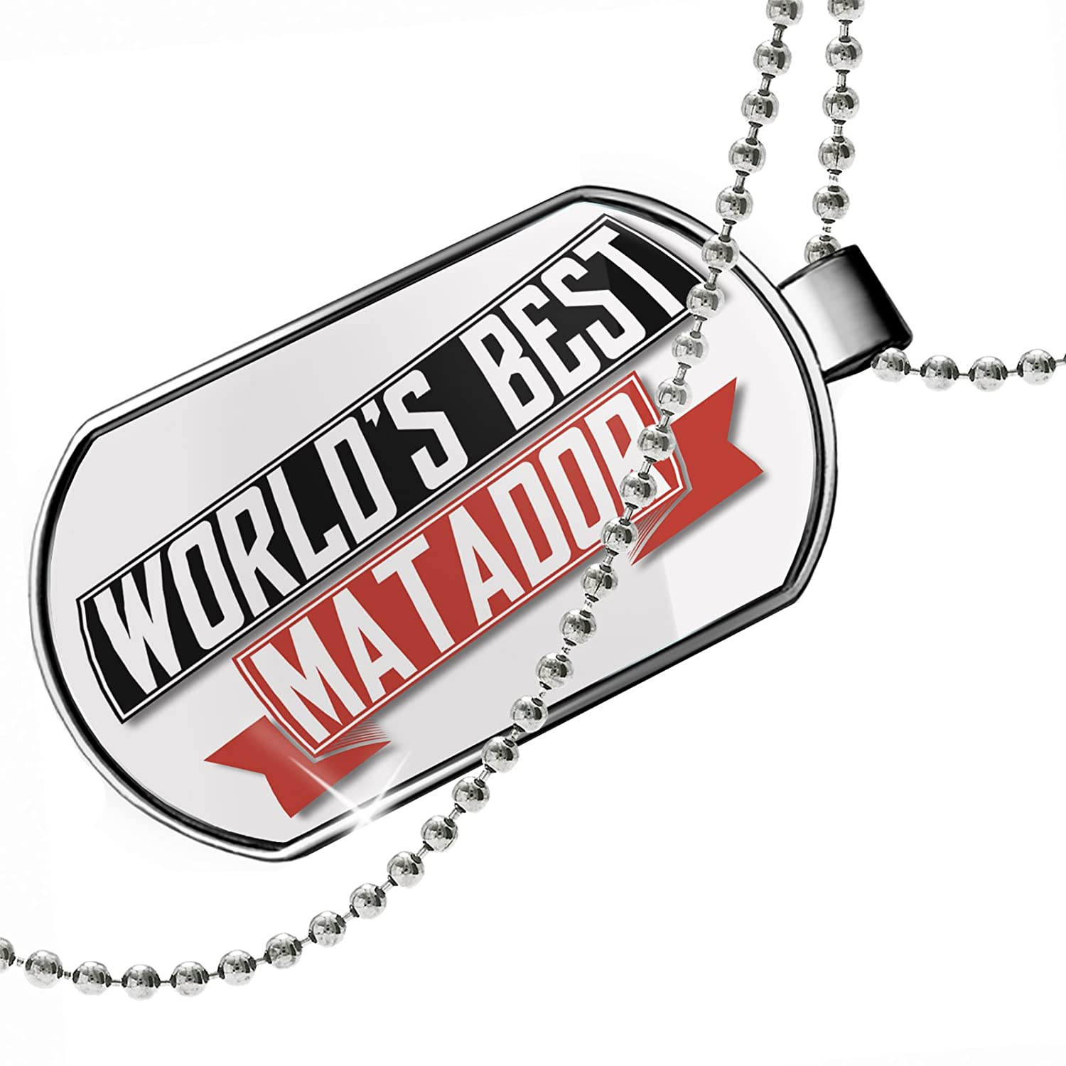 NEONBLOND Personalized Name Engraved Worlds Best Matador Dogtag Necklace