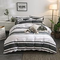 Lausonhouse Cotton Quilt Cover Set,100% Cotton Yarn Dyed Stripe Doona Cover Set - King - Black