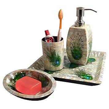 Hecho a mano concha de mar de lujo 4 piezas Juego de accesorios de baño plato
