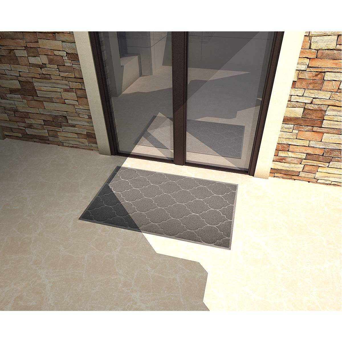 Entryway Rug,Front Doormat Inside Outside Non Slip Large Door Mats,46x35 Inches XL Jumbo Size Outdoor Indoor Entrance Doormat Waterproof Easy Clean Grey