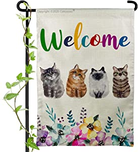 Cokosoxo Cat Welcome Garden Flag Cute Pet Lover Burlap House Yard Flags for Outside Home Lawn Patio Outdoor Decorations