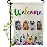 Cat Welcome Garden Flag Cute Pet Lover Burlap House Yard Flags for Outside Home Lawn Patio Outdoor Decorations