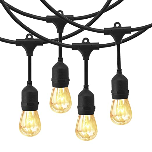 EAGWELL Outdoor Commercial String Lights, 24 Feet Heavy Duty Weatherproof Vintage  Patio Lights   12