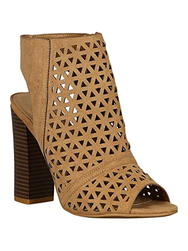 2b13813353 Alrisco Women Faux Suede Perforated Caged Peep Toe Chunky Heel Booties RE15  - Tan Faux Suede
