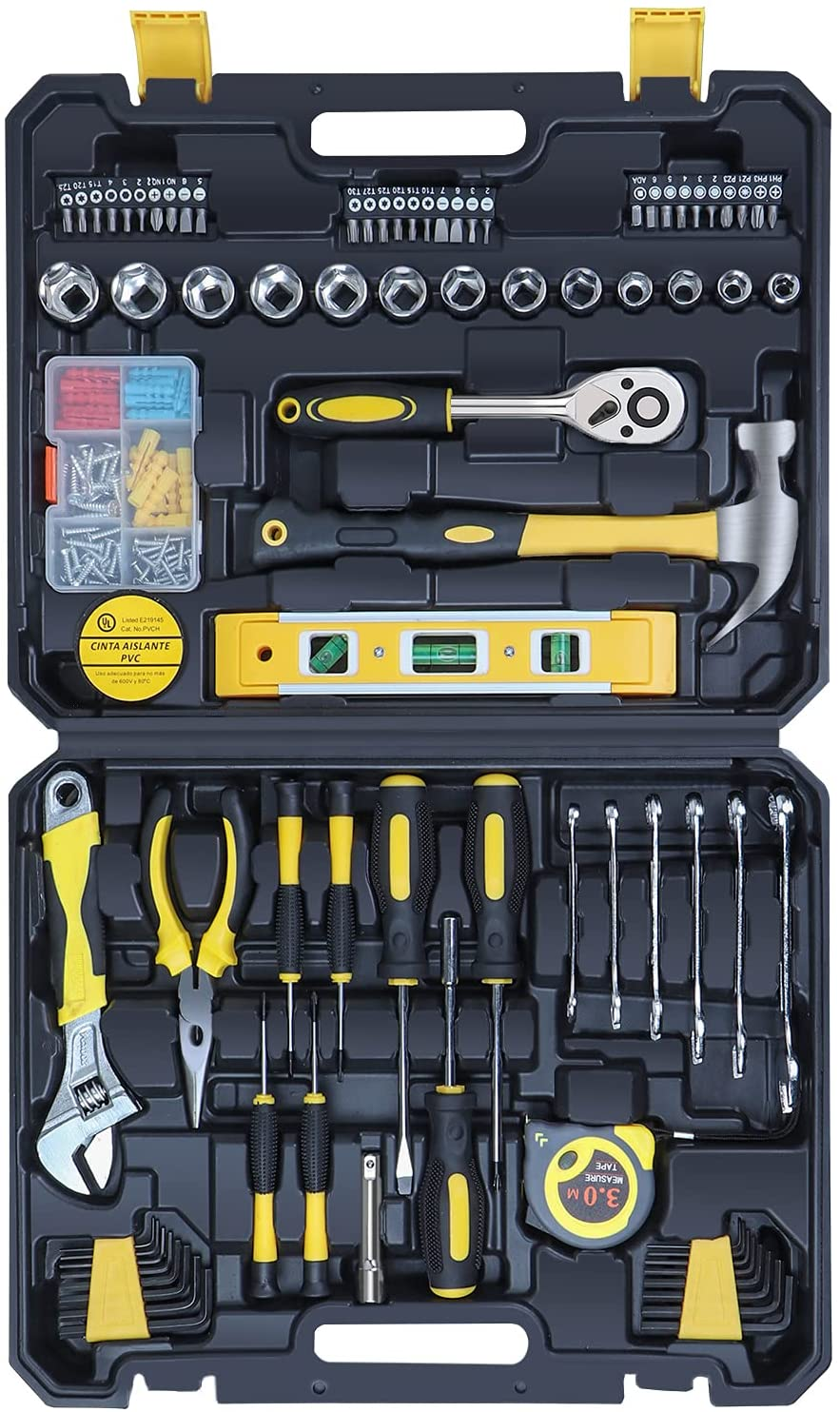 jar-owl Tool Kit Tool Set with Tool Case–Tools For Men and Women to Get Every Job Done–140 Piece Home Tool Kit For DIY and Quick Repairs