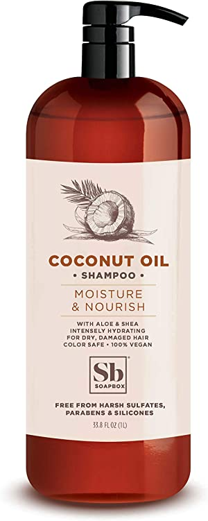 Soapbox Coconut Oil Shampoo, Sulfate Free, Paraben Free, Silicone Free, Color Safe, and Vegan Hair Shampoo (33.8 Ounces)