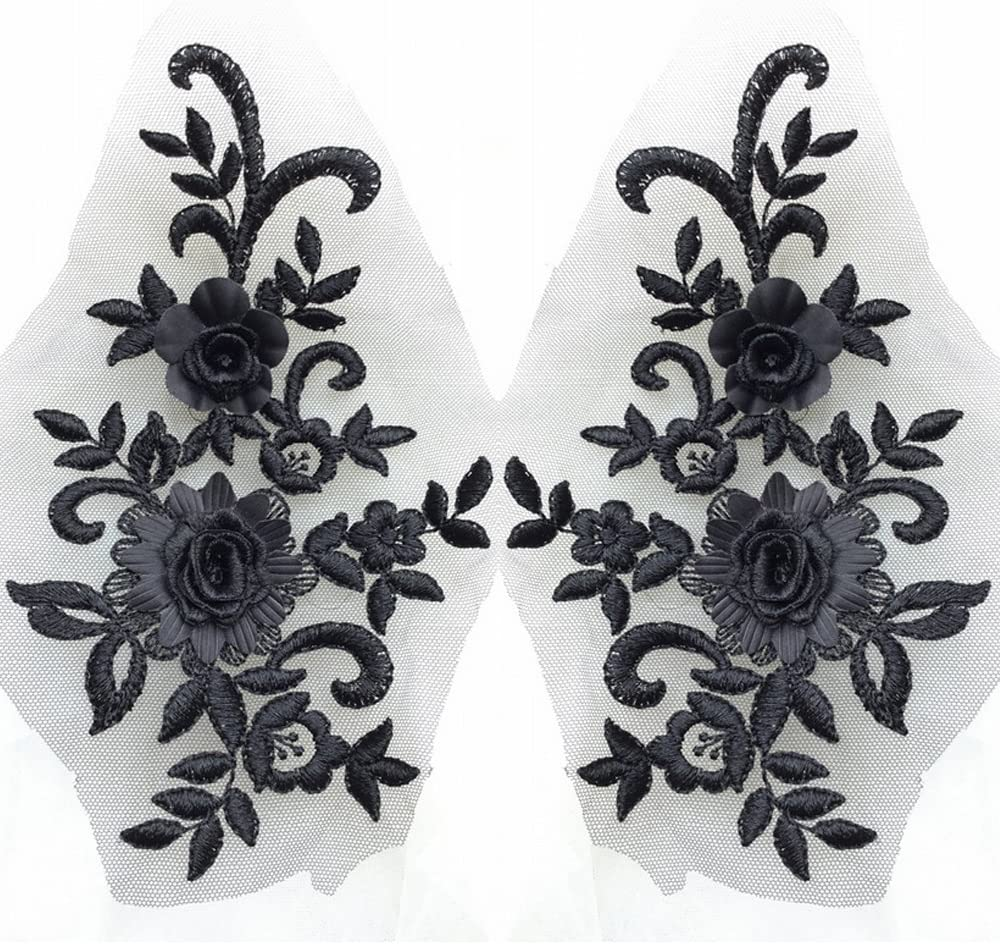 USJee 1 Pair White Lace Flower Applique Patches Embroidery Sewing Craft Decoration