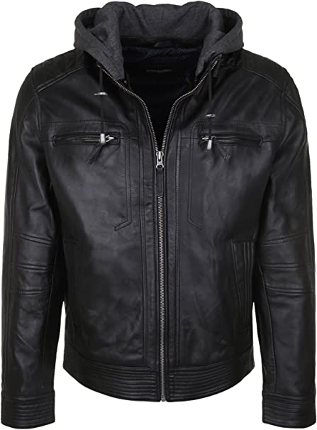 Bruno Banani Men's Leather Jacket Enio Varsity 58 black