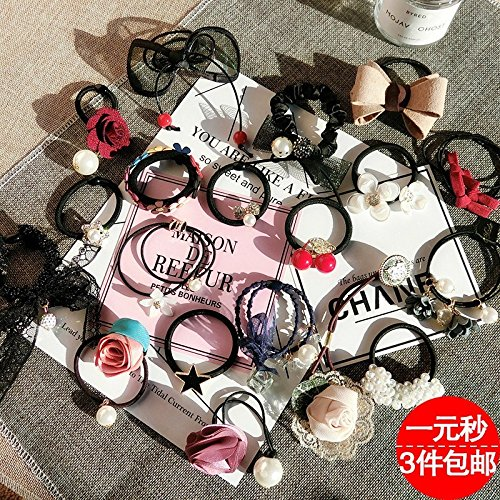 Leather upholstery tied ponytail hair clip hair ring rope tendons head flower jewelry to issuing sub-human hair tie hair rope for women girl lady