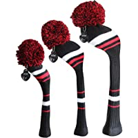 Meili Dark Color Knit Golf Headcover Set of 3 for Driver Wood, Fairway Wood and Hybrid, Long Neck,Big Pom Pom