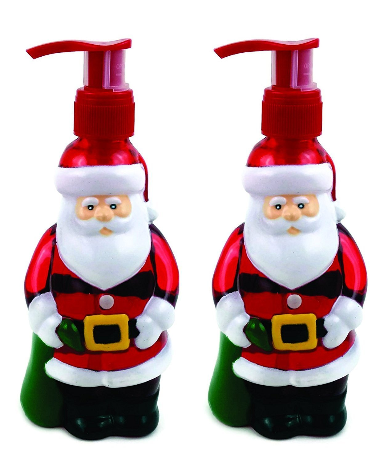 Santa Claus Holiday Hand Soaps, 2pk. Pack of 2 Santa-shaped Dispensers with Sugar-coated Apple Scent. Each bottle approx. 10 fluid oz Liquid Hand Soap.