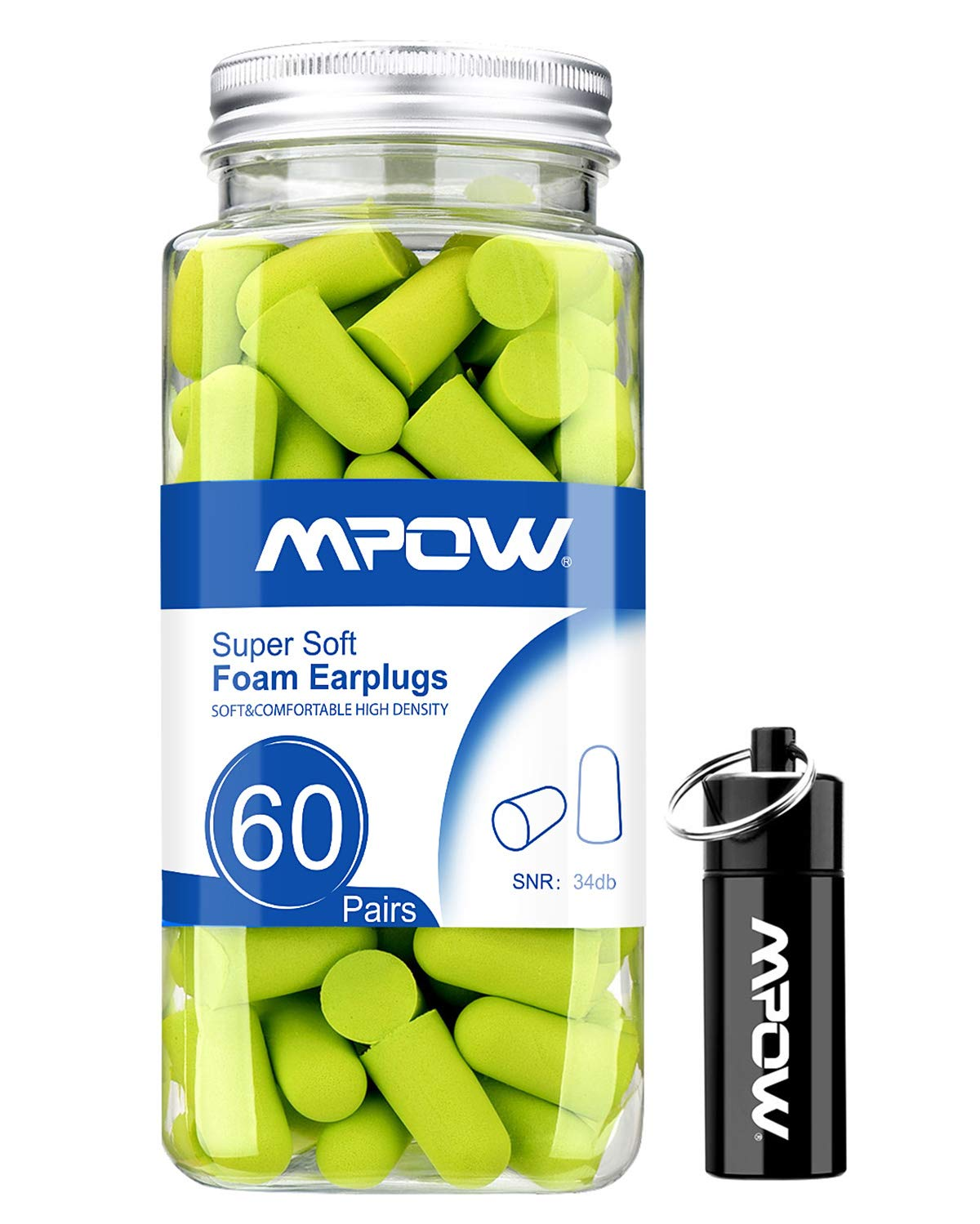Mpow Foam Earplugs 60 Pairs with Aluminum Carry Case, 34Db SNR Ear Plugs, soft Earplugs Noise Reduction For Hearing Protection, Hunting Season, Sleeping, Working, Shooting, Travel-Green by Mpow