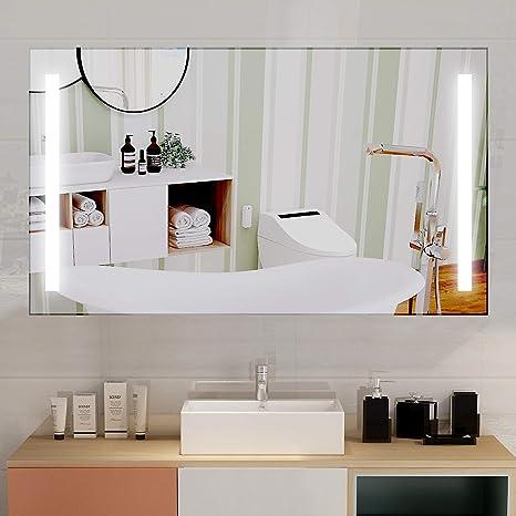 Vanity Art Wall Mounted Led Lighted Bathroom Mirror With Waterproof Rocker Switch Modern Rectangular Frameless Illuminated 48 X 28 Va1 48 Kitchen Dining