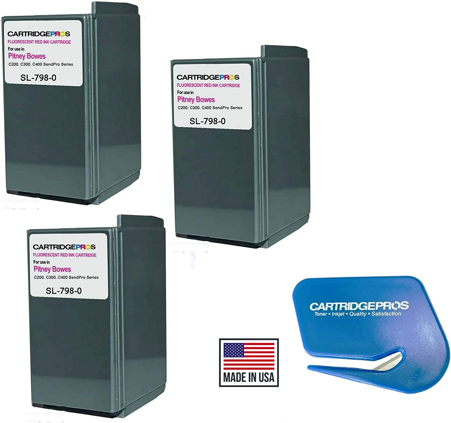Made in USA Cartridge Pros Brand SL‑798‑0 Ink Cartridge 3-PACK for Pitney Bowes SendPro C200, C300 and C400 Postage Machines. Including a Cartridge Pros Brand Letter Opener for The Office