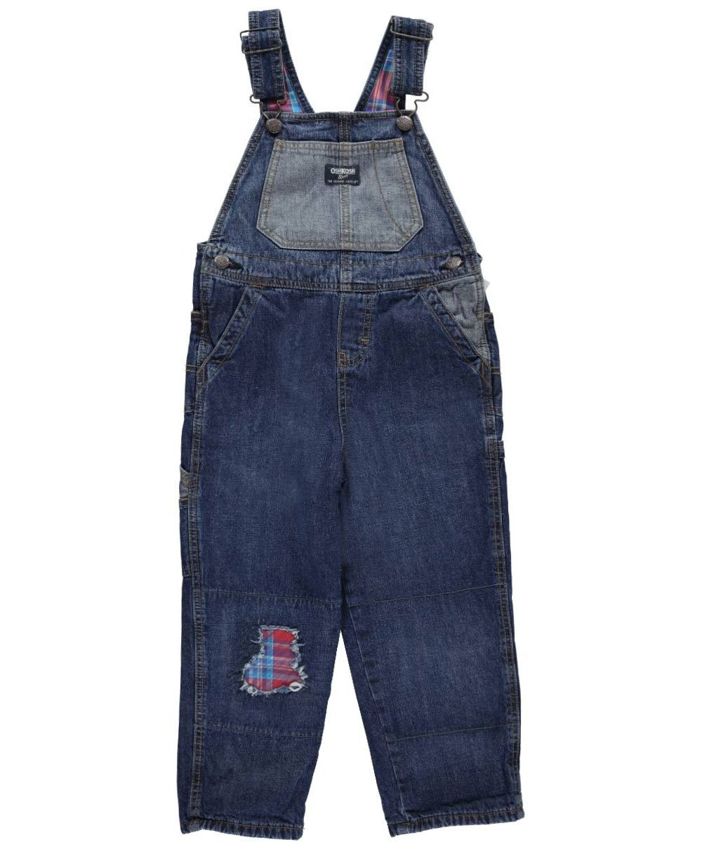 OshKosh Little Boys' Toddler Patched Up Flannel-Lined Overalls