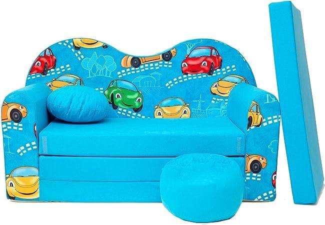 B11 S Kindersofa Kinder Sofa Couch Baby Schlafsofa Kinderzimmer Bett  gemütlich verschidene Farben und Motiven (B11 blau Cars)