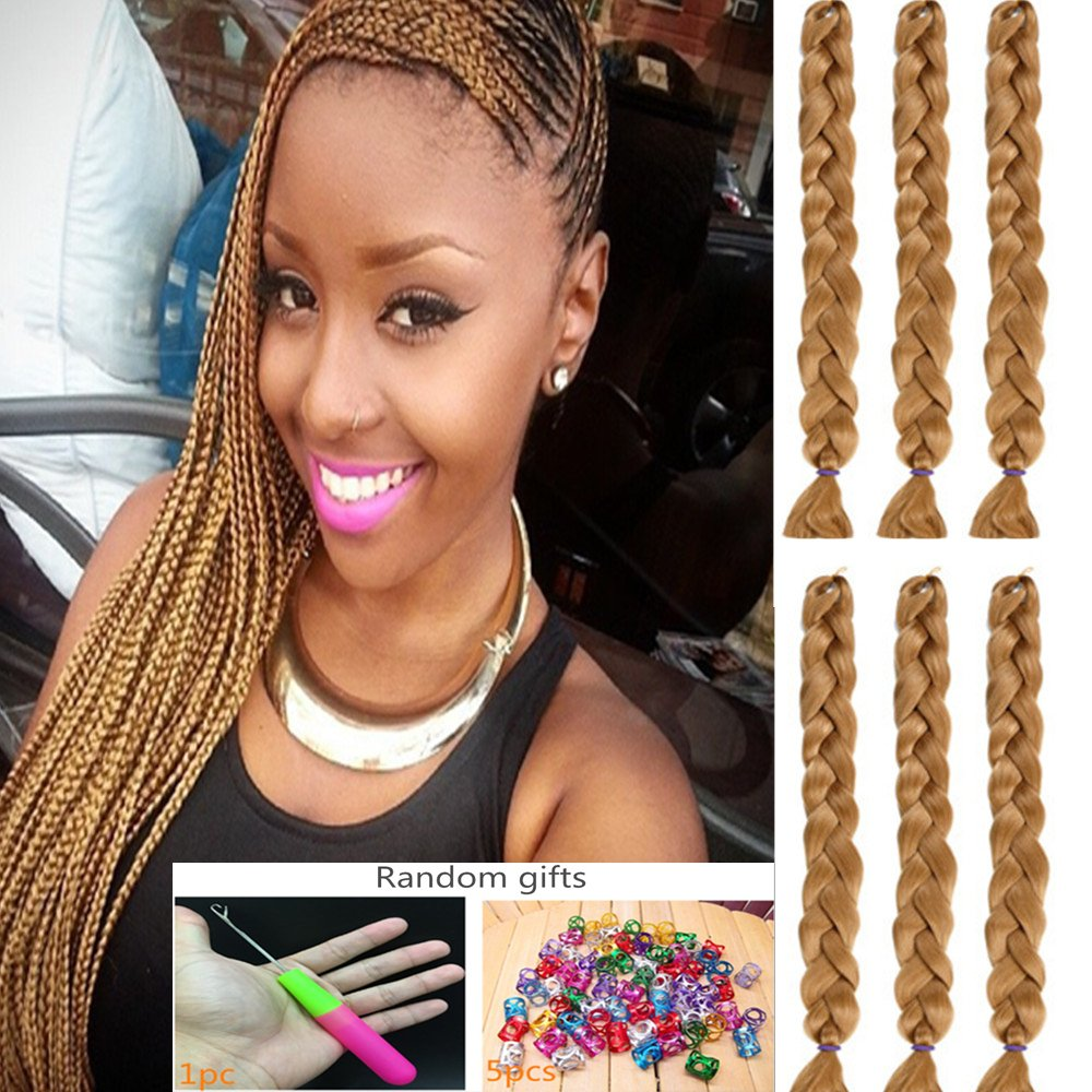 DSOAR 100% Kanekalon 41 inch 165g/Pcs Synthetic Long Jumbo Braid Crochet Hair Extension (6 Piece, Light Brown)
