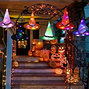 SIEBIRD Halloween Decorations Outdoor Witch Hat, 6 Pcs Hanging Lighted LED Glowing Witch Hat Decorations String Lights Halloween Decor for Indoor, Outdoor, Yard, Tree, Party