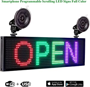 Leadleds P5 RGB Full Color LED Sign Message Board WiFi Connected Smartphone Programmable, 12V Car Cigarette Lighter 2pcs Suction Cups Car Window Storefront