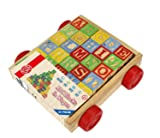 Wooden Alphabet Blocks, Best Wagon ABC Wooden Block Letters Come in a Pull Wagon for Easy Storage and Movement, Most Entertaining Wooden Toy for Toddlers, 30 Pieces