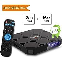 Android TV Box 7.1 Amlogic 64 Bits Bluetooth Réel 4K*2K 3D, 2GB RAM 16GB ROM 2018 Smart Box Quad Core, WiFi 2.4Ghz ABOX A1 Max