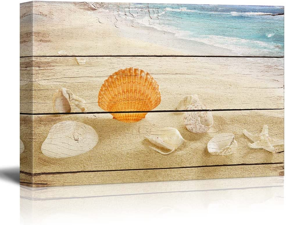 Canvas Prints Wall Art - Seashells on The Beach with Vintage Wood Background - 24