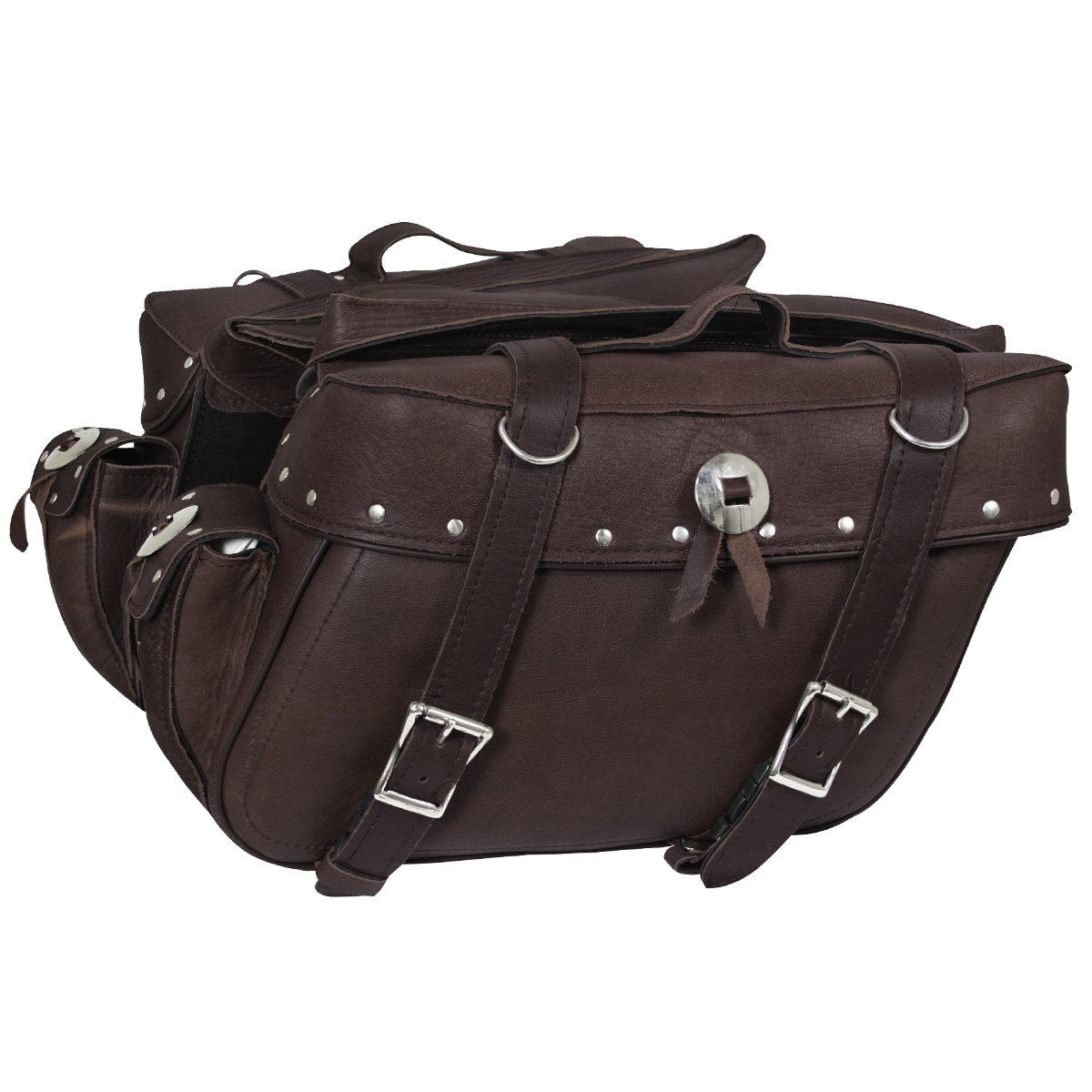 Xelement 2918-BR Brown Distressed Leather Motorcycle Saddlebags - One Size