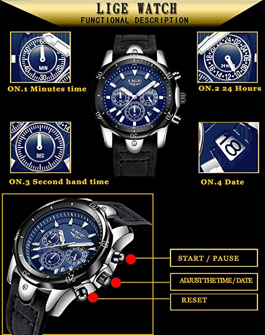 Amazon.com: LIGE Mens Watches Top Brand Luxury Gold Quartz Watch Men Casual Leather Military Waterproof Sport Wrist Watch 65: Cell Phones & Accessories