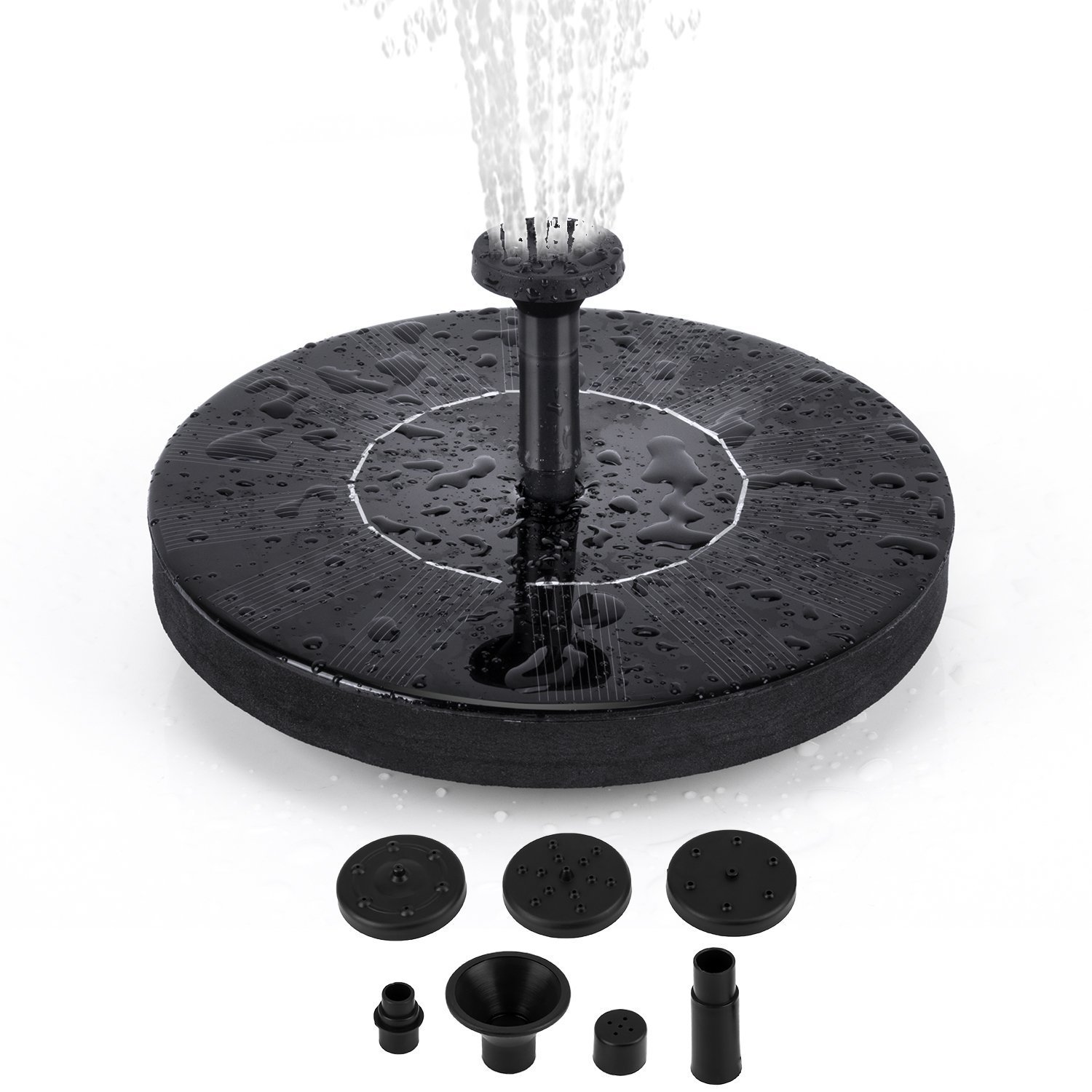 e Solar Fountain Pump, 1.4W Free Standing Water Fountain Pump Kit with 4 Different Spray Heads for Bird Bath, Fish Tank, Small Pond and Garden