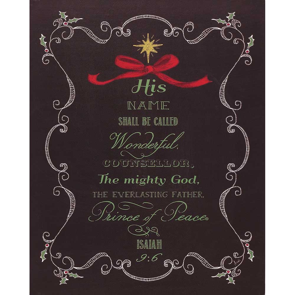 Dicksons Isaiah 9:6 Prince of Peace Fern Chalkboard Design 8 x 10 Wood Christmas Wall Sign Plaque