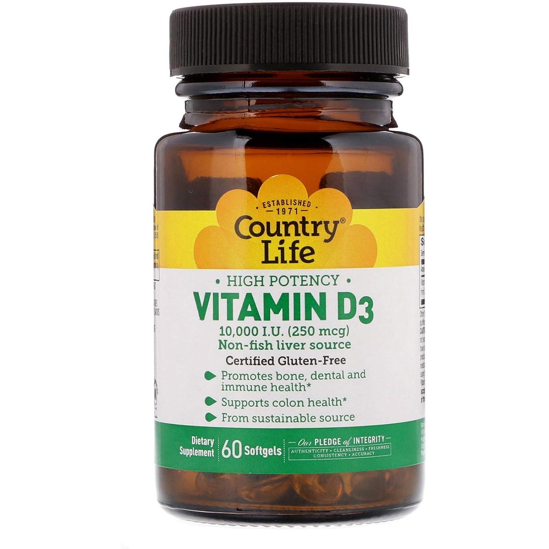 Vitamin D3 10000 IU Country Life 60 Softgel