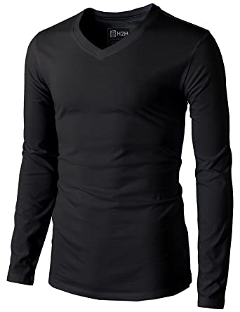 H2H Mens Casual Premium Soft Cotton Long Sleeve V-neck T-Shirts ...