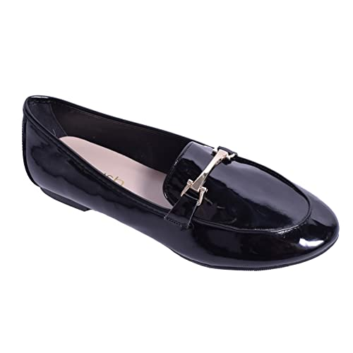 Law Shoes & Clothing - Mocasines de Charol para Mujer, Color Negro, Talla 42