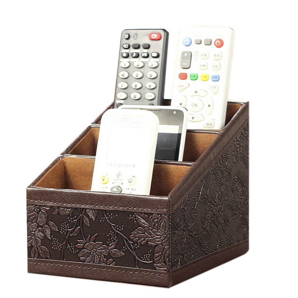 Top Grade Vintage Retro Flower PU Leather Desktop Storage Office Desktop Organizer Remote Control Holder