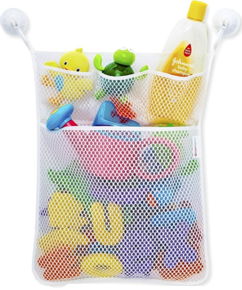 Bath Toy Multiple Pockets Organizer with 2 Great Locking Hooks and 3 Extra Pocket for Storage Soaps & Shampoos or Kids Toys