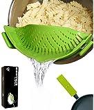 Insanealia Clip-On Pot Strainer & Colander Set with Handle Holder BONUS – Pasta Pot Strainer & Grease Strainer - Cool Kitchen Gadgets