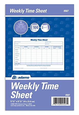 AmazonCom  Adams Weekly Time Sheet Part  X  Inches Blue