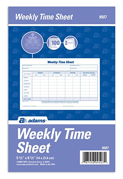 amazon com adams weekly time sheet 1 part 5 5 x 8 5 inches blue