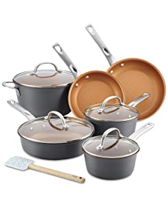 Ayesha Curry 10767 Home Collection Porcelain Enamel Nonstick Cookware Set, Brown Sugar, 12-Piece