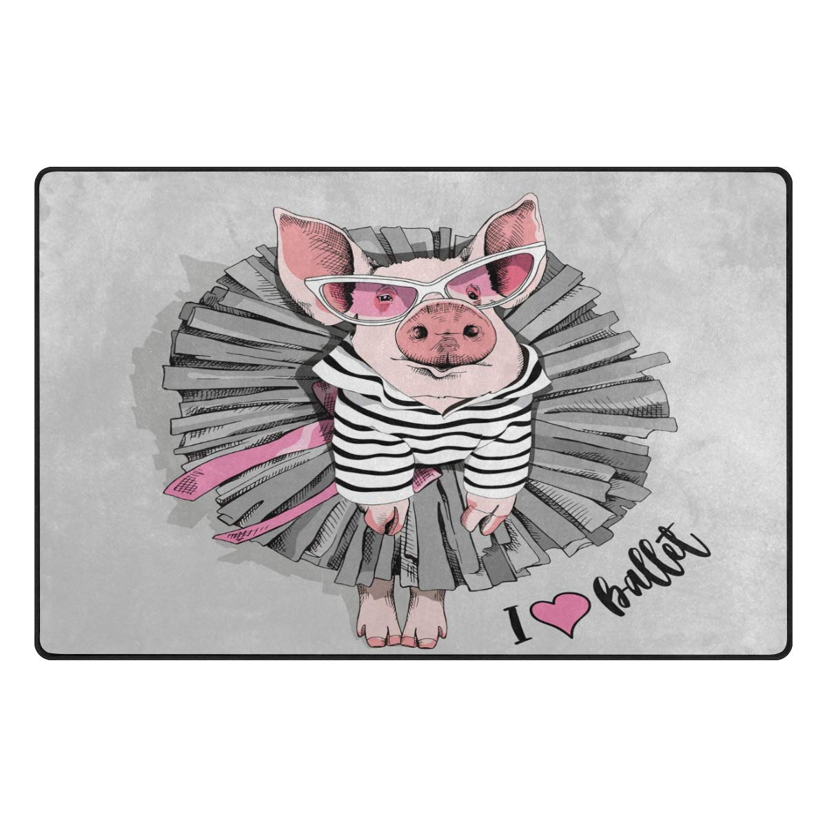 "Jpopo Cute Pig Area Rug Doormat 60"" L x 39"" W Non Slip Floor Rug Entrance Mat Indoor Bathroom Mats for Bathroom Dining Room Decorative"
