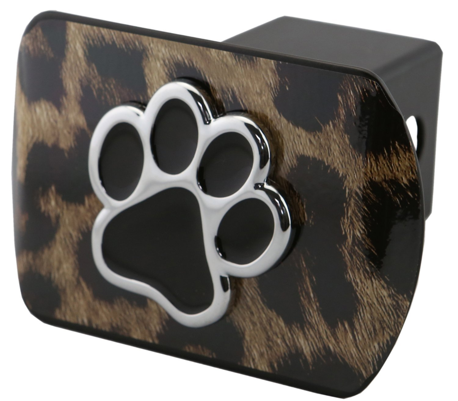 LFPartS Bear Dog Animal Paw Foot 3D Emblem Metal Trailer Hitch Cover Fits 2' Receivers (Black on Black) bparts
