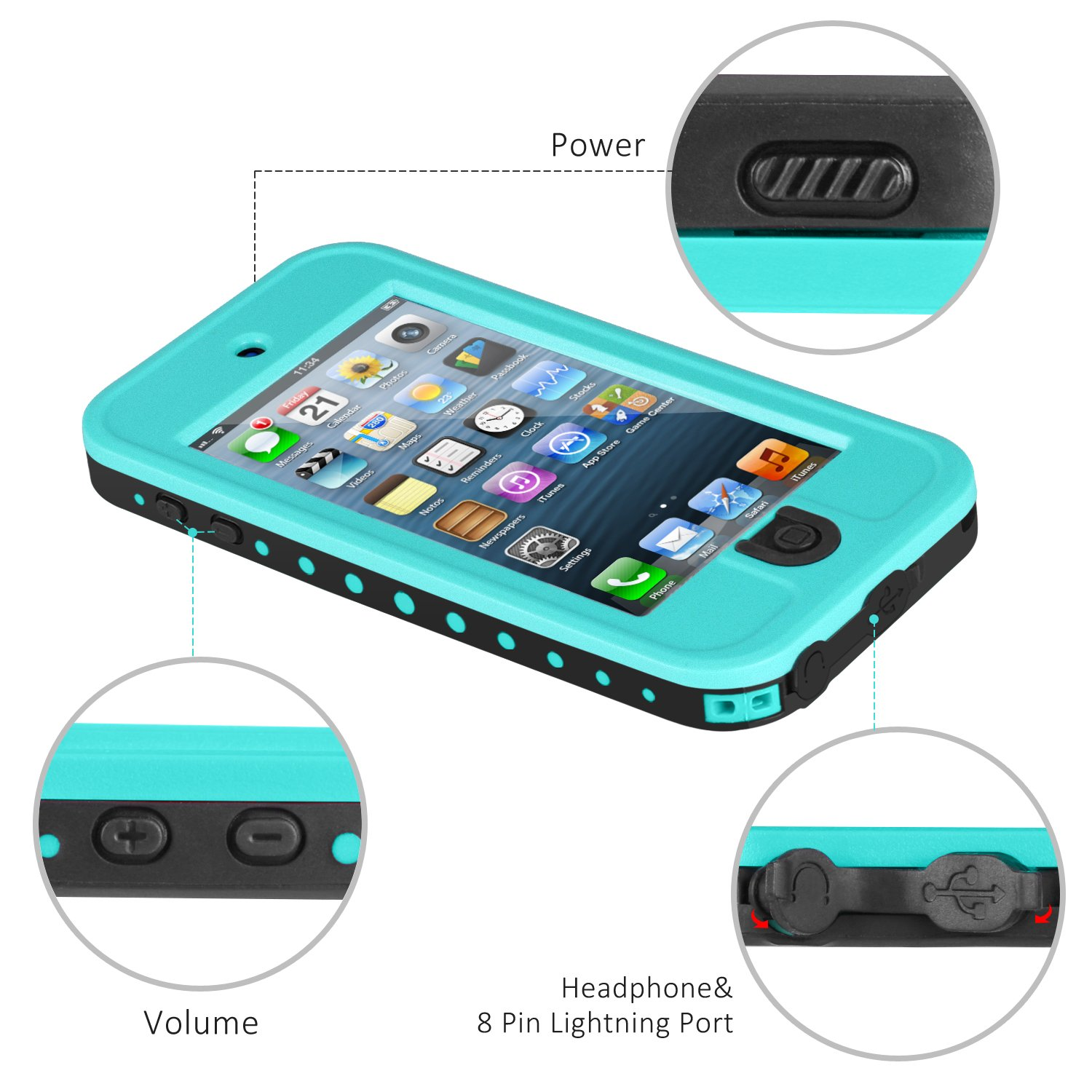 Waterproof Case for iPod 5 iPod 6, Meritcase Waterproof Shockproof Dirtproof Snowproof Case Cover with Kickstand for Apple iPod Touch 5th/6th Generation for Swimming Diving Surfing Snorkeling (Blue) by meritcase (Image #4)