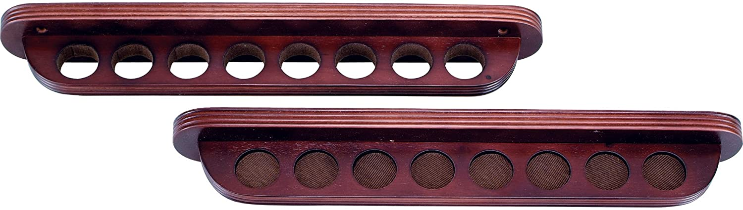 Roman Shaped 8 Pool Cue Stained Wood Wall Rack, Chocolate CueStix International WR8R CHOCOLATE